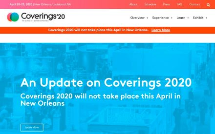 Webpage of the Coverings fair on March 18, 2020.