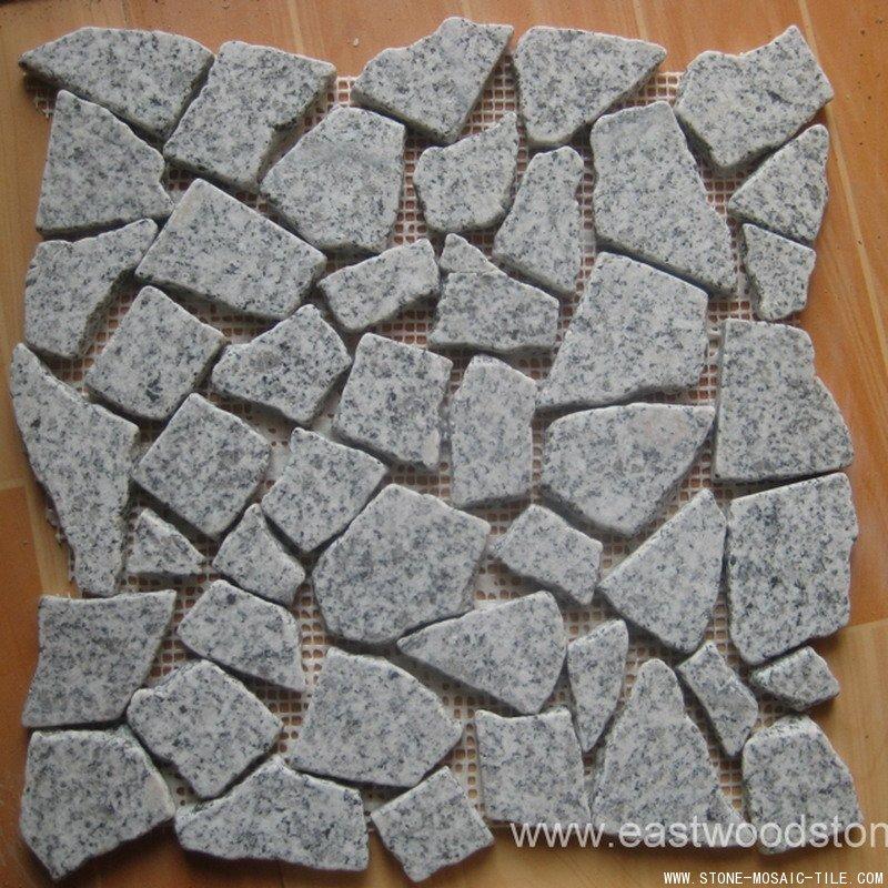 honed tumbled black granite mosaic