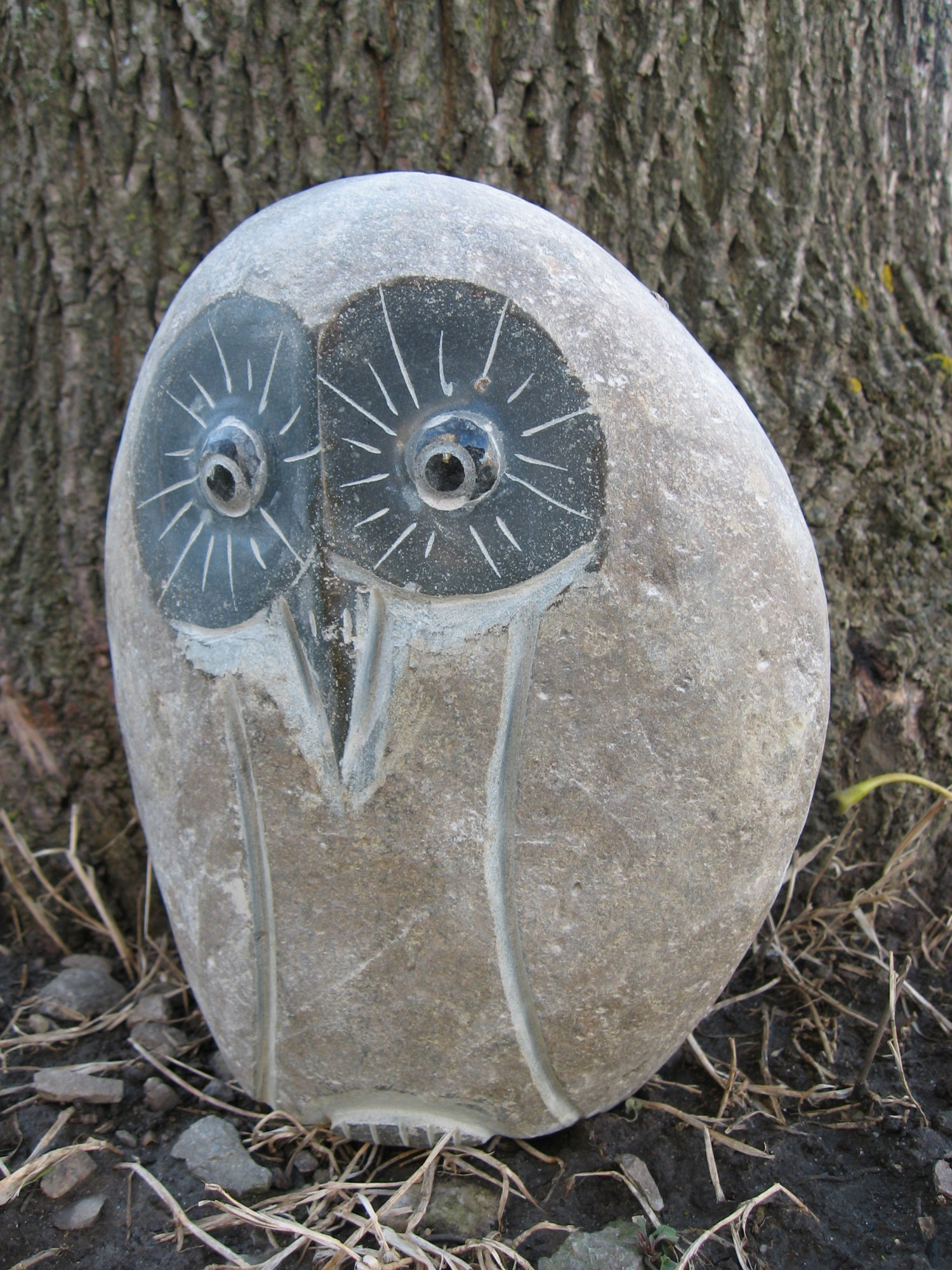 Granite Boulder Owl By Stone Age Creations