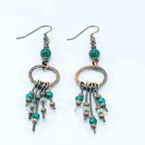 Stunning Copper and Jade Dangling Earrings