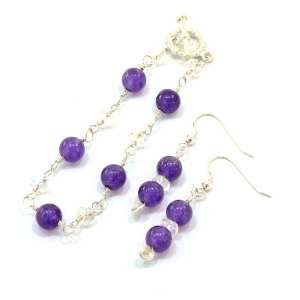 Delicate Silver and Amethyst Bracelet and Earrings Set