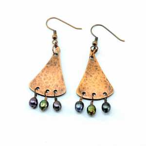 Hammered Copper Triangle Earrings with Freshwater Pearls
