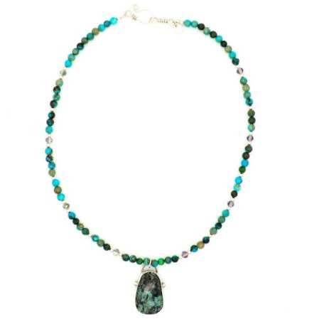 EK01131 African Turquoise Beaded Necklace with Pendant White Background 1_031220