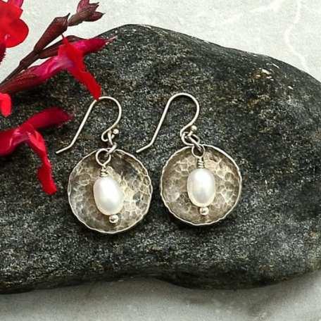 EK01118 Dome Freshwater Pearl Earrings Lifestyle 2