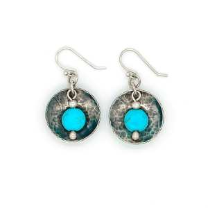 Sterling Silver Domed Turquoise Earrings
