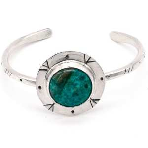 Chrysocolla Cuff Bracelet with Stamped Design