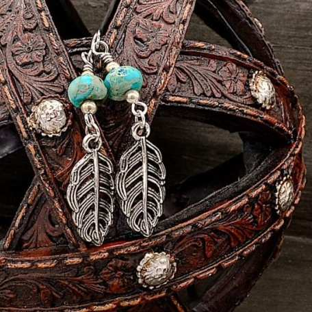 EK01106 Silver Feather and Turquoise Earrings 1_050620 1200x630
