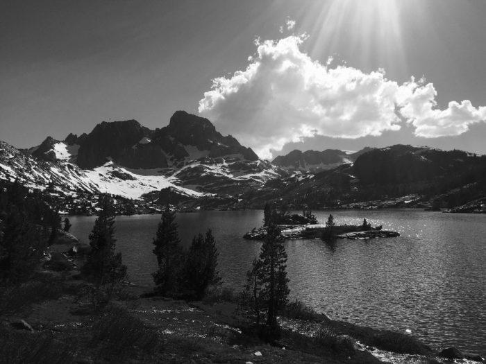 Sun shining on Garnet Lake