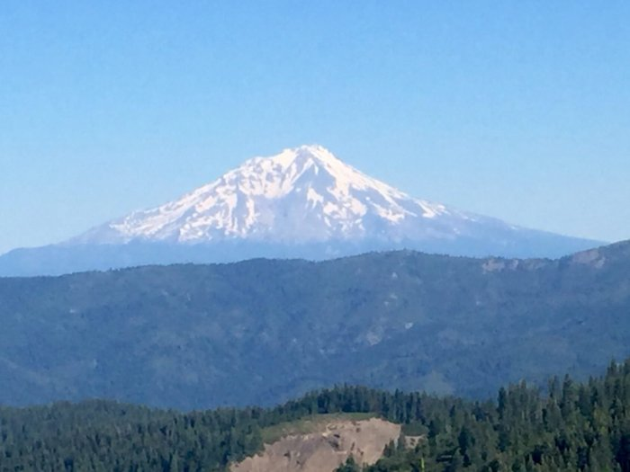 View of a snow-capped Mount Shasta