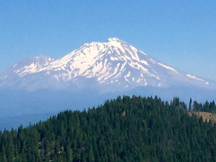 Mount Shasta dominating the skyline