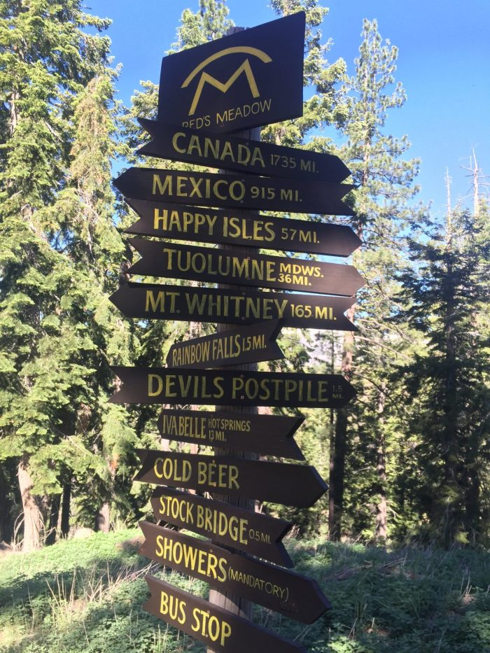 Mileage signs at Reds Meadow