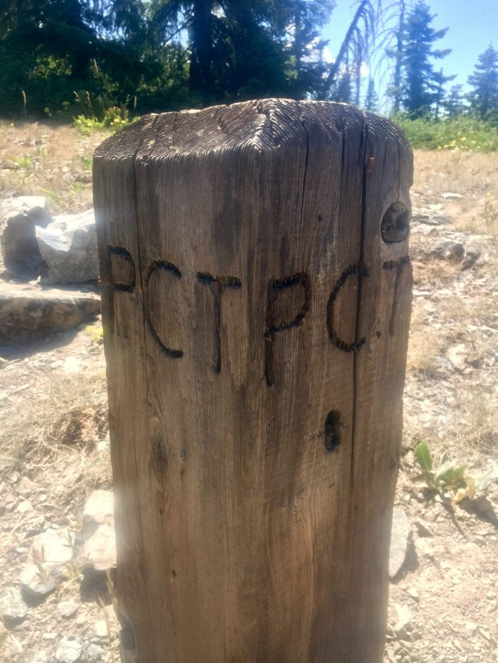 Small wooden post with PCT carved into it