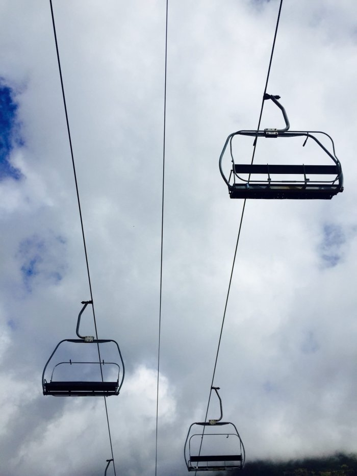 Snoqualmie Pass ski area chairlifts overhead