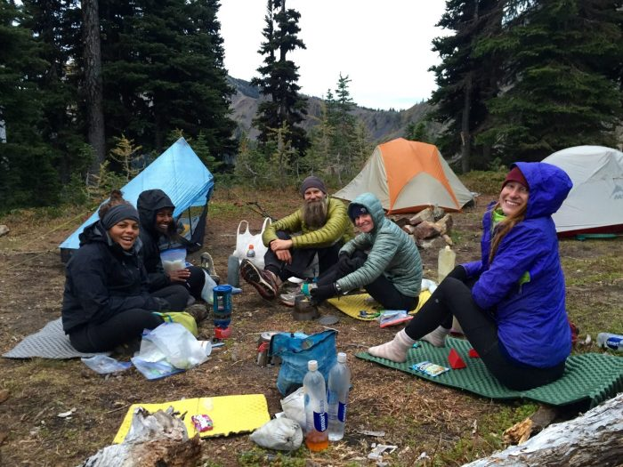 Beardoh Sweet Pea Gazelle Hammer and Roadie having final dinner on trail