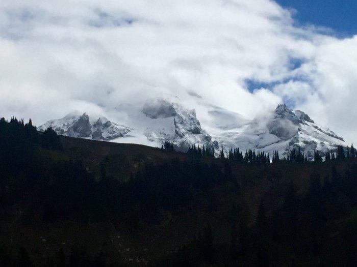 Glacier Peak peeking through the clouds