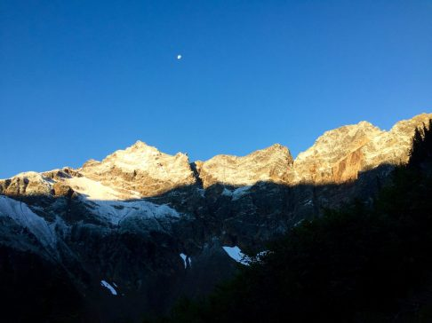 Morning light across the highest peaks of the North Cascades
