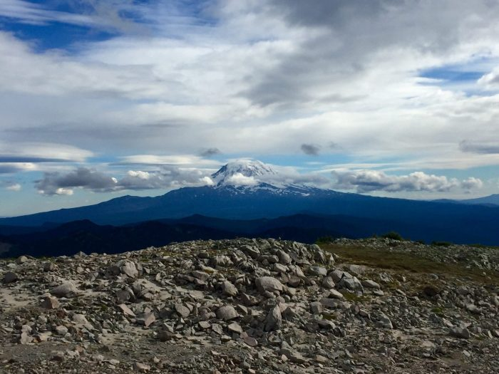 Mount Adams rising high into patchy clouds
