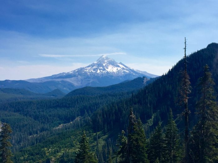 Looking back at Mount Hood on a clear day