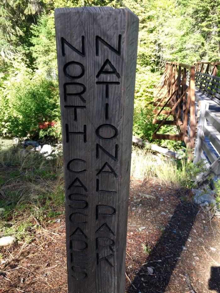 North Cascades National Park boundary post
