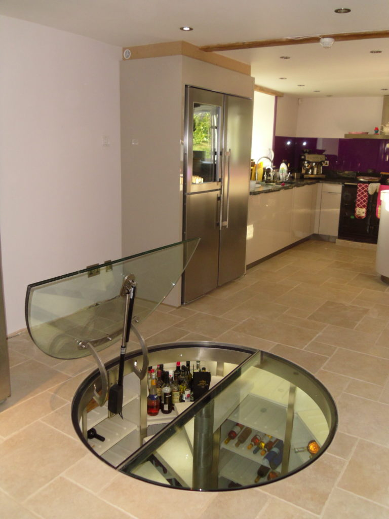 Circular Wine Cellar under kitchen floor