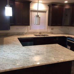 White Quartz Kitchen Countertops Corner Nook Table River Granite Counterop - Stone City & Bath ...