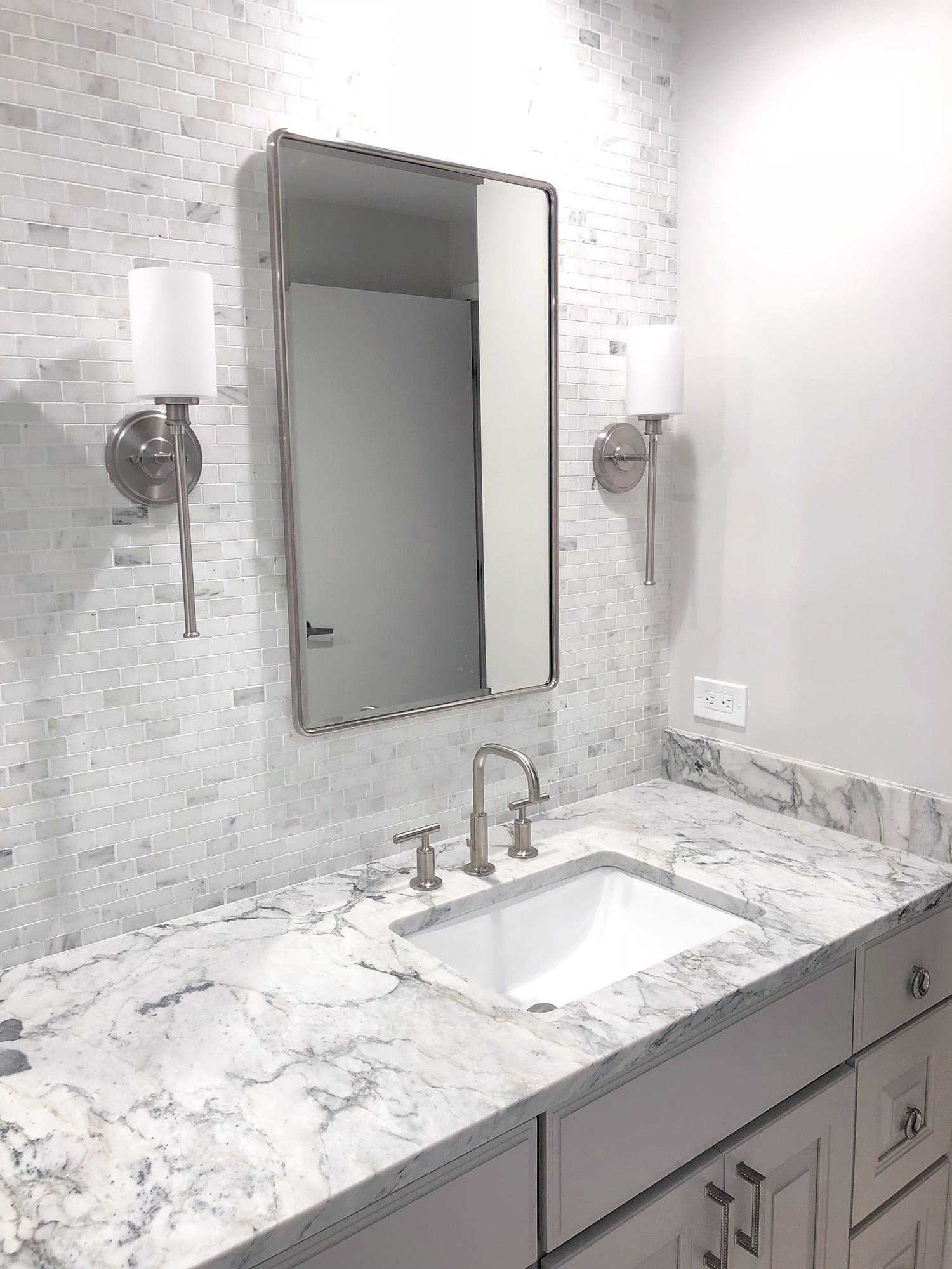 White Arabesque Counters Amp Olympian White Mosaic Tile Stone City Kitchen Amp Bath Design