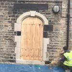 After - Structural modifications turning window into door at a school in Bradford