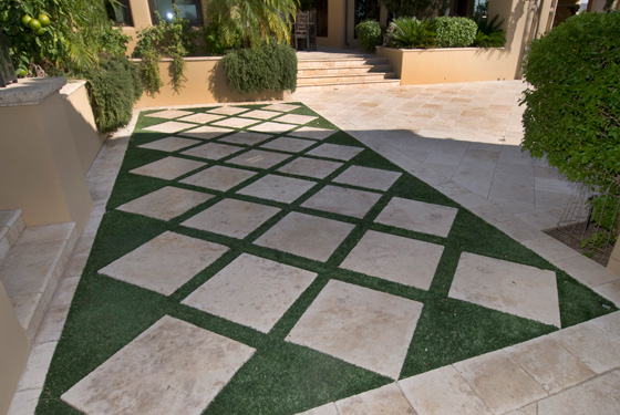 travertine pavers installed