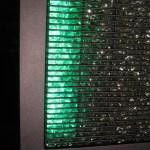 Totem avec Gabions en verre et LED vertes