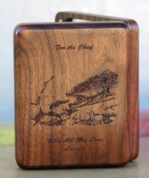 Personilzed Fly Box Back - Brown Trout Sculpin - Walnut Wood