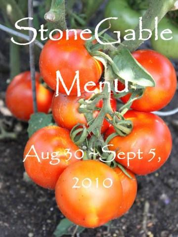 Weekly Menu   August 30~ September 5, 2010