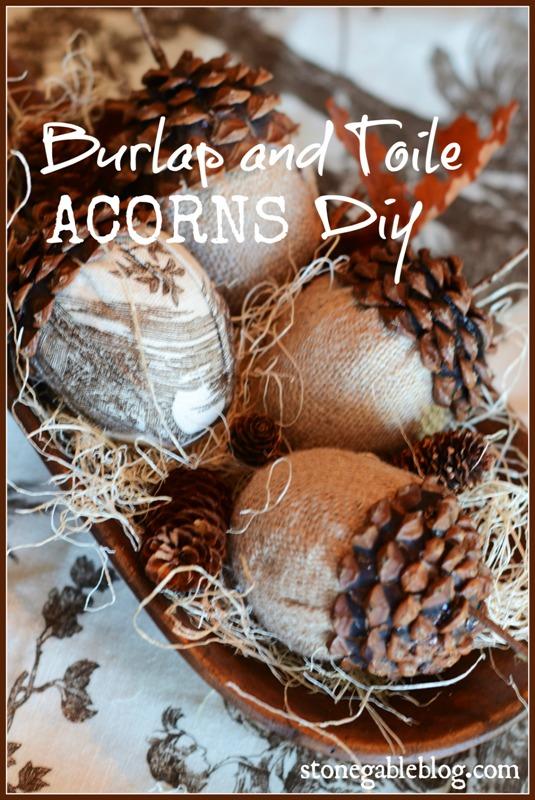 BLOG BURLAP ACORN DIY TITLE PAGE- stonegableblog.com