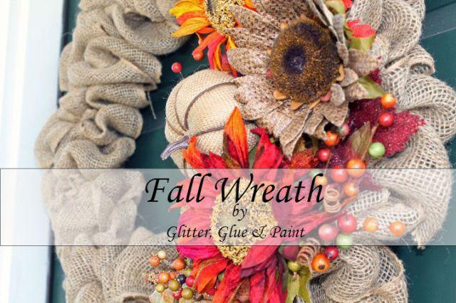 Fall Burlap Wreath @glitterglueandpaint.com