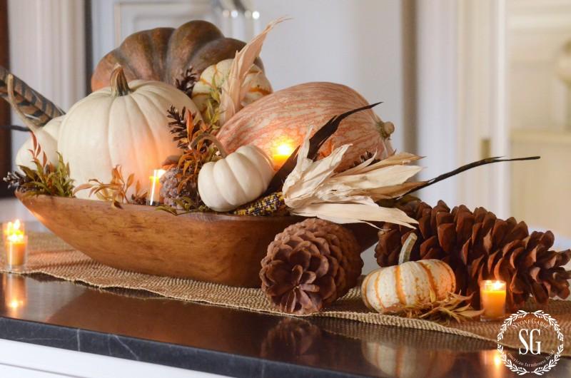 FALL HOME TOUR-pumpkin centerpiece-candles-stonegableblog.com