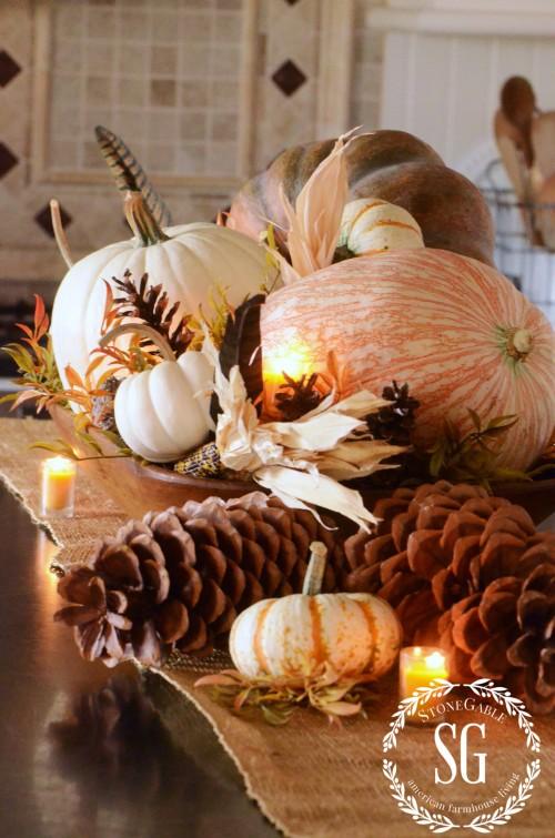 FALL HOME TOUR-pumpkin-centerpiece-stonegableblog.com