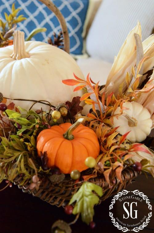 FALL HOME TOUR-pumpkins in a basket-stonegableblog.com