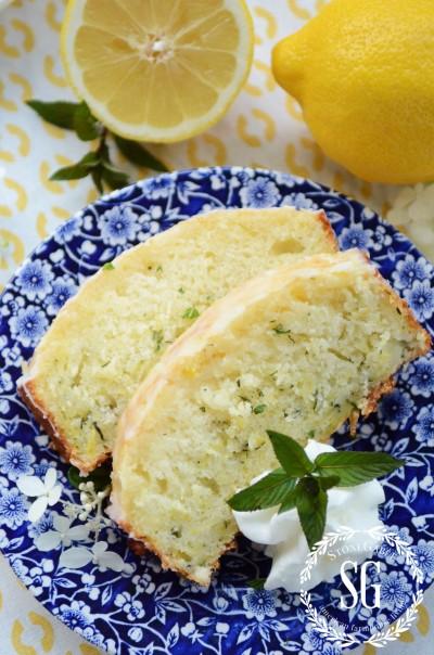 Glazed Lemon Zucchini Bread-slices and lemons-stonegableblog.com