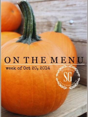 ON THE MENU WEEK OF OCTOBER 20, 2014