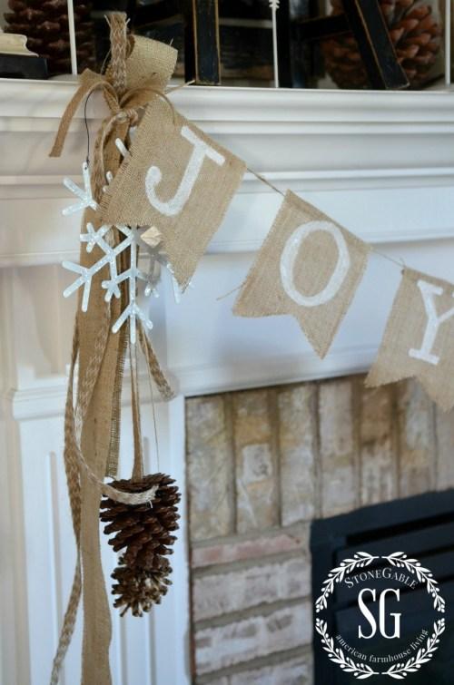 CHRISTMAS FARMHOUSE MANTEL-burlap banner-stonegableblog.com
