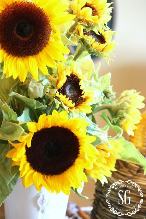 MAKING FAUX FLOWERS LOOK FABULOUS-sunflowers-stonegableblog.com