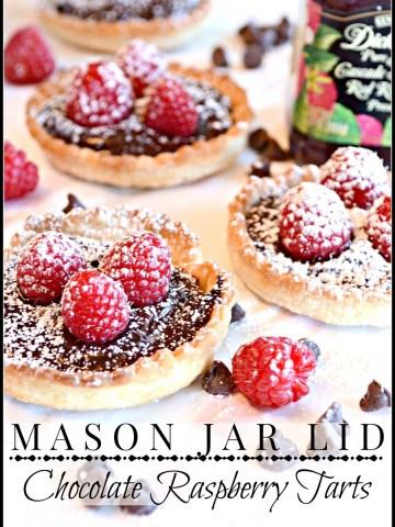 MASON JAR LID CHOCOLATE RASPBERRY TARTS-you will love this recipe-so easy to make and so impressive-stonegableblog.com