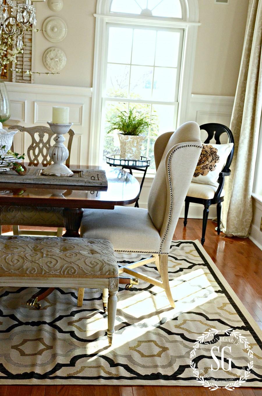 new dining room rug stonegable. Black Bedroom Furniture Sets. Home Design Ideas
