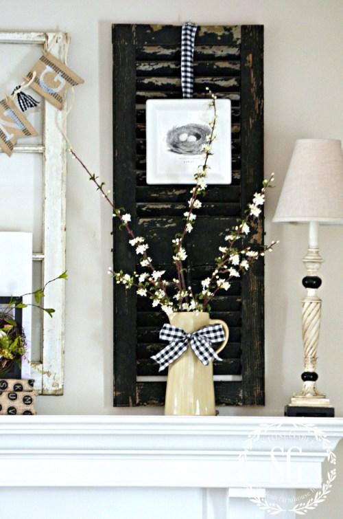 SPRING MANTEL-nest plates on shutters-stonegableblog.com