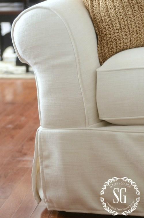 SPRING FARMHOUSE MUST HAVES-white slipcovers-stonegableblog.com