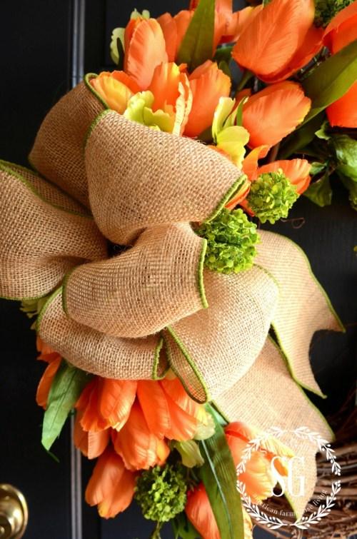 SPRING TULIP WREATH-parrot tulips-burlap bow-stonegableblog.com