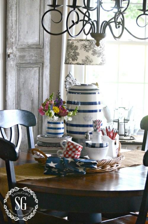 SUMMER FARMHOUSE KITCHEN VIGNETTE-red-white-bleu-stonegableblog.com