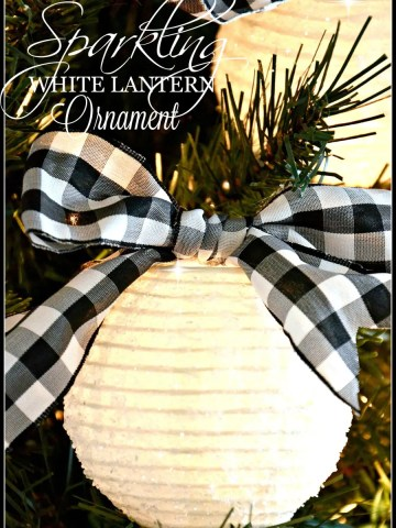 SPARKLING WHITE LANTERN CHRISTMAS ORNAMENTS