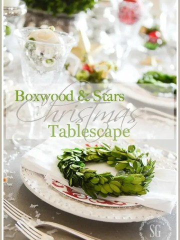 BOXWOOD AND STARS CHRISTMAS TABLESCAPE