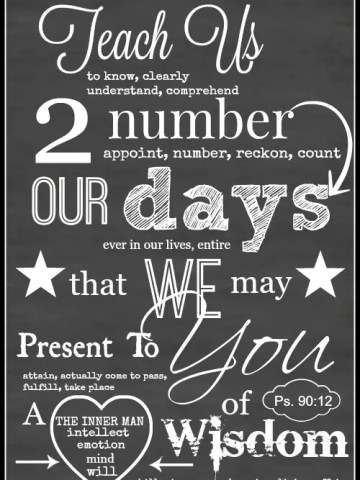 TEACH US TO NUMBER OUR DAYS FREE CHALKBOARD PRINTABLE