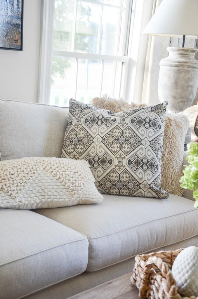 lumbar pillow laying on sofa